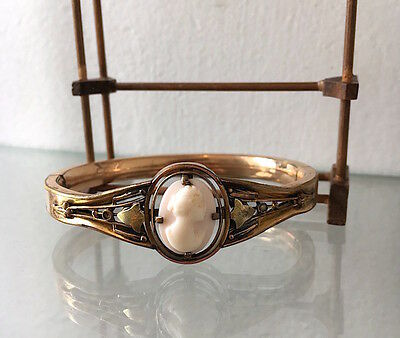 Antique Victorian Gold Filled Angel Skin Coral Cameo Bangle Bracelet