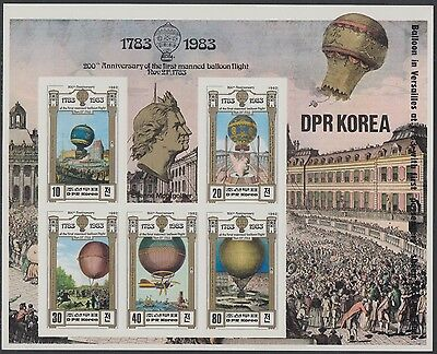 XG-AN460 KOREA - Aviation, 1982 Flight Bicent. Hot Air Balloon Imp. 5V MNH Sheet