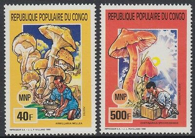 XG-AN781 CONGO BRAZZAVILLE - Mushrooms, 1991 Nature, 2 Values MNH Set
