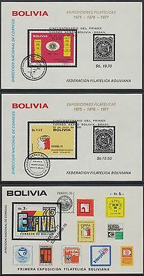 XG-AN225 BOLIVIA - Stamp On Stamp, 1981 Events, Overprinted 3 Sheets MNH