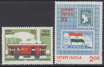 XG-AN665 INDIA IND - Stamp On Stamp, 1982 Trains, Inpex Philatelic Expo MNH Set