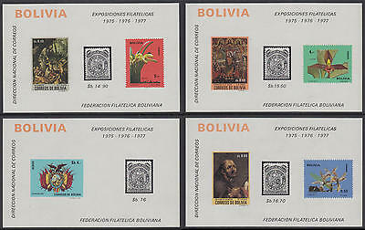XG-AN196 BOLIVIA - Flowers, 1974 Paintings, Stamp Expos, 4 Sheets Collage MNH
