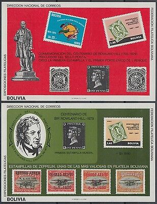 XG-AN220 BOLIVIA - Rowland Hill, 1980 Stamp On Stamp, 2 Imperf. Sheets MNH