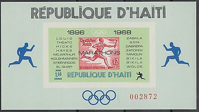 XG-AN262 HAITI - Stamp On Stamp, 1969 Olympic Games Winners Imperf. MNH Sheet