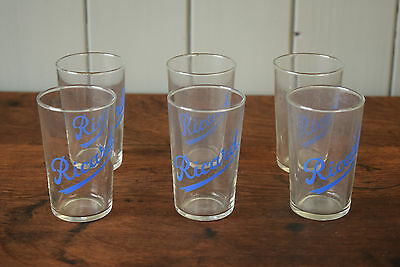 Vintage Ricard Patis Small Shot Glasses With Handwritten Blue Scroll x6