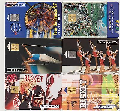 Lot de 6 Télécartes - Tour de France - Gymnastique & Street Culture Basket