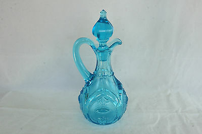Dugan Glass Blue Jeweled Heart Victor Pattern Oil Cruet With Orig. Stopper Eapg