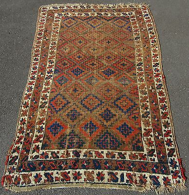 ANTIQUE COUNTRY SHABBY CHIC HOUSE PERSIAN KURDISH ALL WOOL RUG circa 1900