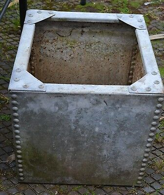 Vintage metal water tank with studs - garden planter