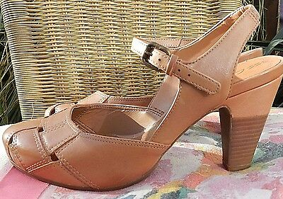 Ladies NEW CLARKS Strappy Tan Leather Sandals Heels Shoes Size UK 6.5