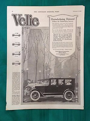 1920-1923 Lot Vintage Automobile Magazine Ads ~ Antique Velie Motors~ Moline IL
