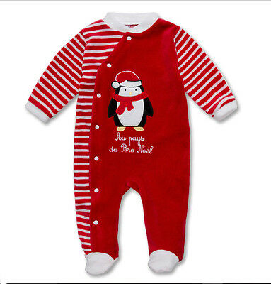 New Without Tags Velour Unisex Baby Christmas Penguin Sleepsuit / One Piece @1M@