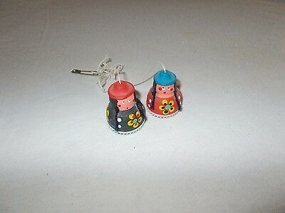 Vintage Miniature Terra Cotta Indian Girls Mini Bells 2 pc set