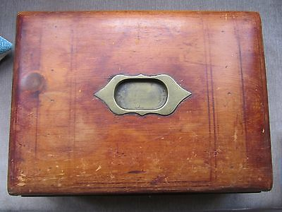 Antique Writing Slope Box Wood Brass Collectible Home Double opening