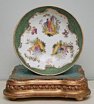 Beautiful Hand Painted Dresden Bowl, Greenscale Border, Figural Panels, Gilding
