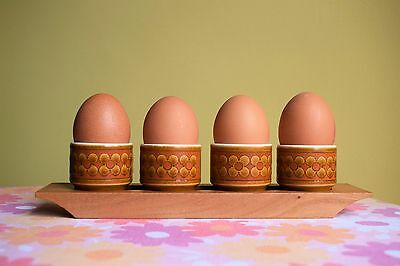 Vintage Retro 70s Hornsea Saffron Egg Cups and Wooden Holder