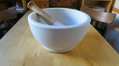 Large Antique Porcelain Apothecary Pharmaceutical Mortar and Pestle