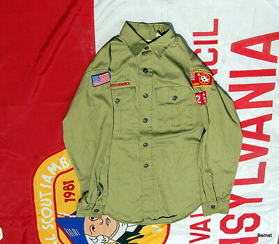 Long Sleeve Boy Scout Uniform  Shirt With Insignia