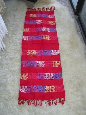 """Red handwoven Mexican Thick Runner Ethnic Runner Festive 14"""" x 46"""""""