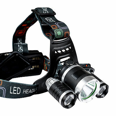 T6 CREE XM-L LED Rechargeable Zoom Head Torch Headlamp Headlight 18650 Zoomable