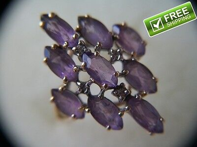 Estate Find 10K Gold Ring with 9 .18ctw Genuine Amethyst & 4 Diamonds Size 6.5