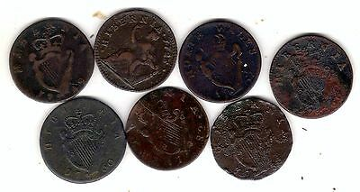 7 early irish copper coins,some scarce pieces in this lot