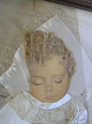 Antique Post Mortem Baby w/ real curly blonde locks mixed media framed Picture