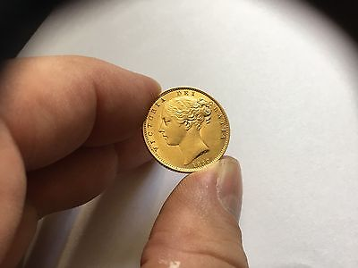 Rare Stunning Full Gold C1852 Gold Sovereign Coin Ef Proof Like Fields Superb
