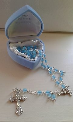 Baby's First ROSARY BEADS Rosaries Boy Blue Childrens & Leaflet CHRISTENING GIFT