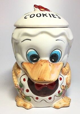 Vintage Hand Painted Duck Small Cookie Jar Floral Pattern Made in Brazil
