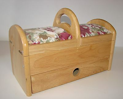 Vintage Style Wooden Sewing Box with Drawer