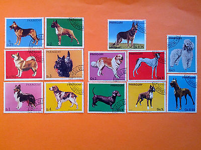 """Paraguay """"Dogs"""" Series  13 Cancelled Stamps with Gum"""