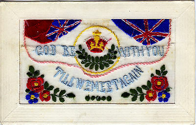 1914-18 Ww1 ~ Embroidered Silk Postcard ~ God Be With You - Till We Meet Again