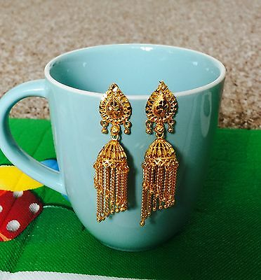 22ct Real Looking Gold Plated Jhumka Earrings - Size Big - Indian Ethnic Style