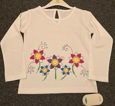 Mothercare Stunning L/S Flower Top BNWT NEW 3/4 4/5 Girls Summer REDUCED Free PP