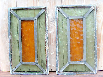 Church Reclaimed Salvaged Antique Vintage  Stained Glass Panels x2 - 13'' x 8''