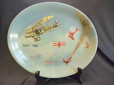 WWI Dogfight DH 9 & Albatros; Hand Painted Decorative English China Plate OOAK