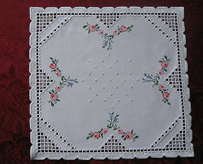 withe Hardanger embroidered tablecloth - with cross-stitched flowers