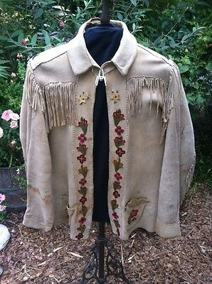 antique native american jacket chamois buckskin indian hand made embroidered old