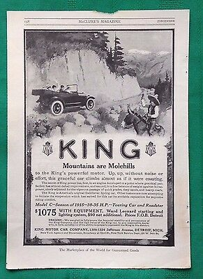 1914-1915 Lot Vintage Automobile Magazine Ads ~ Antique King Motor Car ~ Detroit