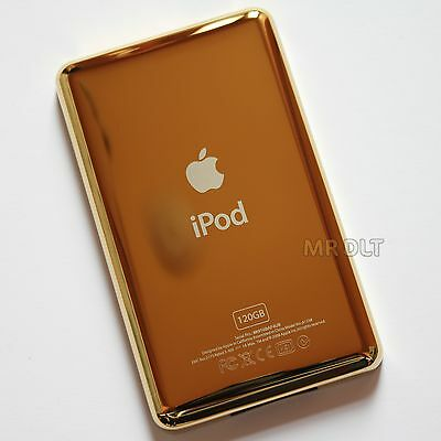 Gold Plated 120GB Thin Back Housing For iPod Classic Rear Cover Plate Panel - UK