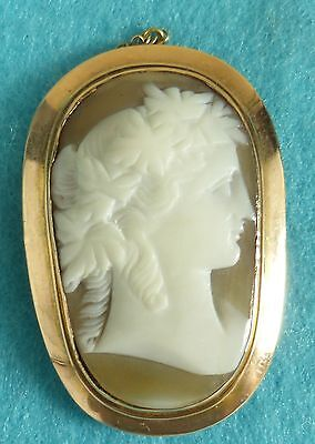 Beautiful Victorian 9 Carat Gold Carved Cameo Shell Brooch Lady Head Ca 1880
