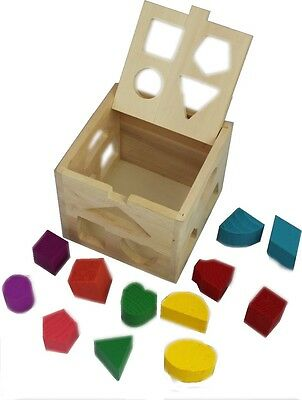 Wooden Shape Sorting box Cube Square Baby First Blocks Toy for Montessori Presch
