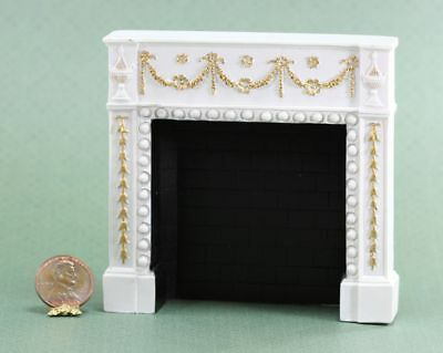 Dollhouse Miniature Decorative White Fireplace with Gold Trim by Falcon