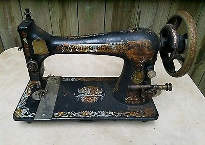 Antique Singer Sewing Machine Head 1904 Model 27 Sphinx for Restoration or Parts