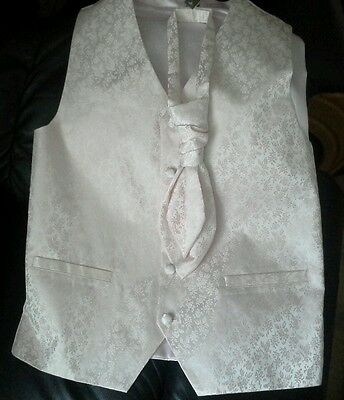 Bnwt * Next * Boys Pink Waistcoat, Tie Set, 14Yrs Old, Wedding, Christening,