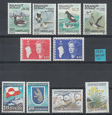 XG-H540 GREENLAND - Year Set, 1989 Complete As Per Scan, Birds, Flowers MNH