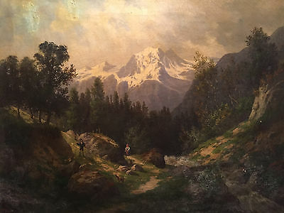 Original Large Antique Oil Painting Swiss Mountain Signed Dated 1890 Vintage