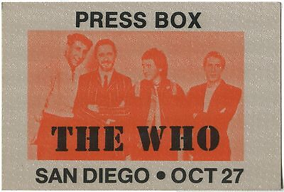 THE WHO *1982* backstage press pass ticket Roger Daltrey Pete Townshend RARE