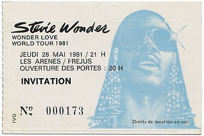STEVIE WONDER *1981* stunning rare original concert ticket france memorabilia